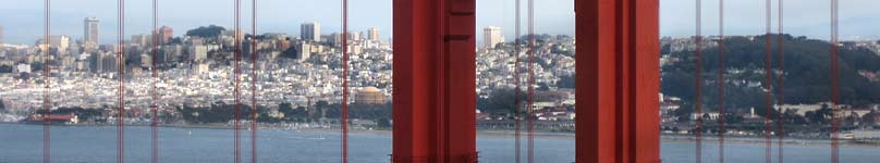 San Francisco as seen through the Golden Gate Bridge