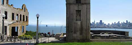 The view from Alcatraz with the lighthouse in the foreground