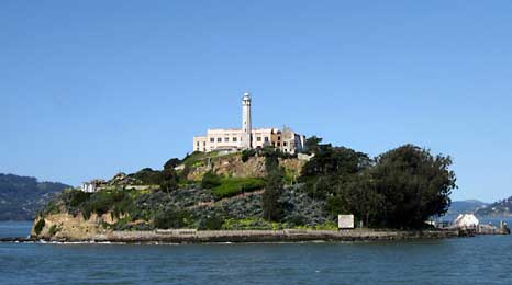 Alcartraz Island with its lighthouse and prison administration building