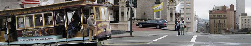 Ridding the cable cars in front of Mark Hopkins on Nob Hill