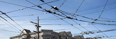 Overhead wires for trolly buses