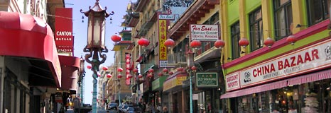 Looking down Grant Avenue in Chinatown