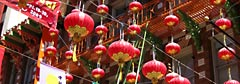 Lanterns hanging across Grant Avenue in San Francisco's Chinatown