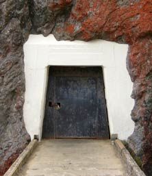 The locked tunnel door that leads to the Point Bonita Lighthouse