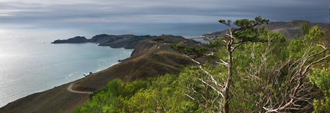 The view from Hawk Hill looking towards Point Bonita