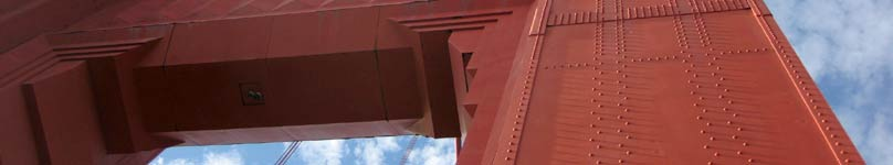 Looking up at the North Tower of the Golden Gate Bridge