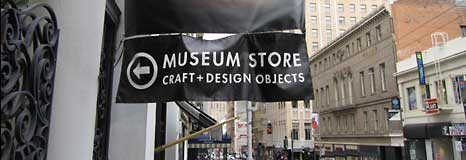 The street banner for the Museum of Crafts + Design