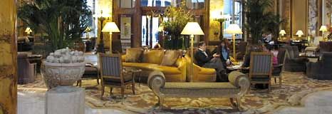 The lobby of the Farmont Hotel on Nob Hill in San Francisco