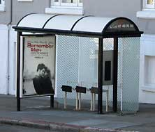 This is what a bus stop in San Francisco looks like